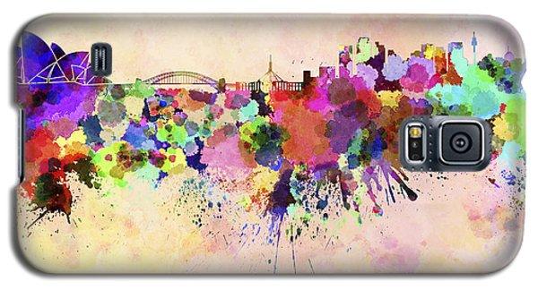 Sydney Skyline In Watercolor Background Galaxy S5 Case by Pablo Romero