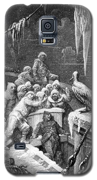 The Albatross Being Fed By The Sailors On The The Ship Marooned In The Frozen Seas Of Antartica Galaxy S5 Case by Gustave Dore