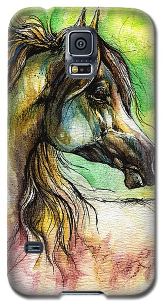 Drawings Galaxy S5 Cases - The Rainbow Colored Arabian Horse Galaxy S5 Case by Angel  Tarantella