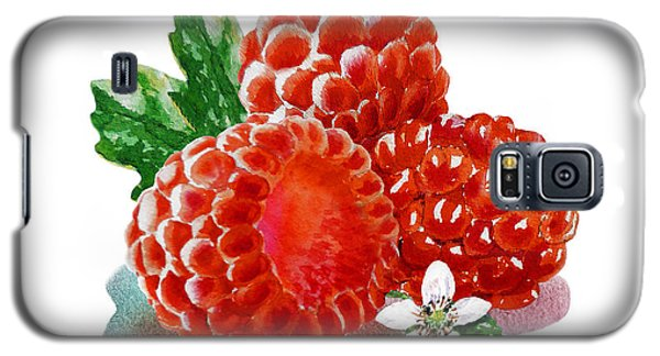 Three Happy Raspberries Galaxy S5 Case by Irina Sztukowski