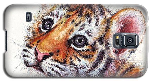 Tiger Cub Watercolor Painting Galaxy S5 Case by Olga Shvartsur