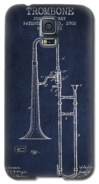 Trombone Patent From 1902 - Blue Galaxy S5 Case by Aged Pixel