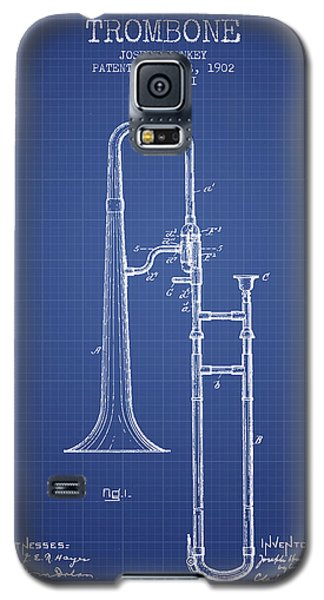Trombone Patent From 1902 - Blueprint Galaxy S5 Case by Aged Pixel