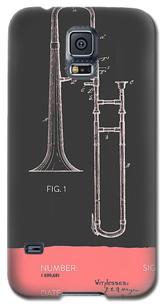 Trombone Patent From 1902 - Modern Gray Salmon Galaxy S5 Case by Aged Pixel