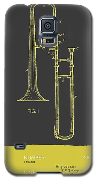 Trombone Patent From 1902 - Modern Gray Yellow Galaxy S5 Case by Aged Pixel