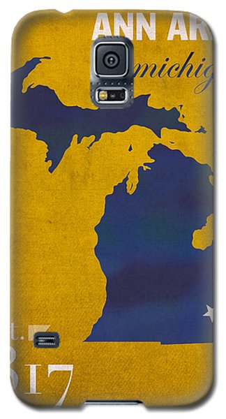 University Of Michigan Wolverines Ann Arbor College Town State Map Poster Series No 001 Galaxy S5 Case by Design Turnpike