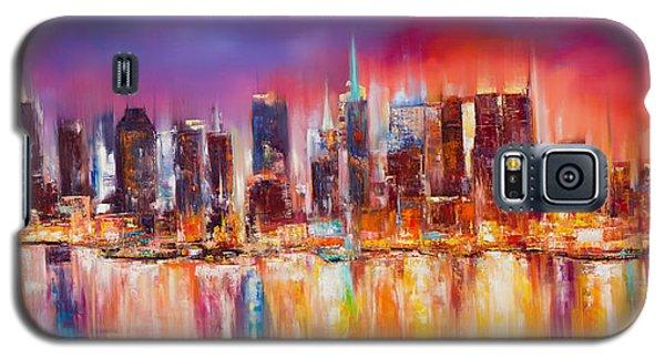 Skylines Galaxy S5 Cases - Vibrant New York City Skyline Galaxy S5 Case by Manit