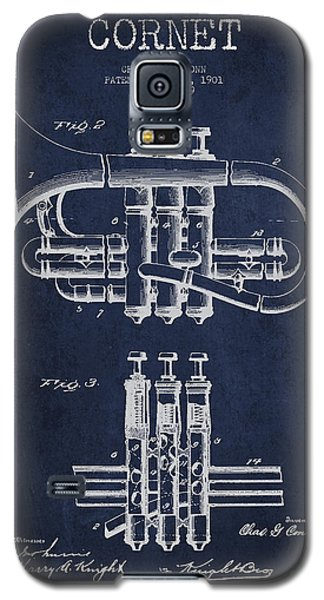 Cornet Patent Drawing From 1901 - Blue Galaxy S5 Case by Aged Pixel