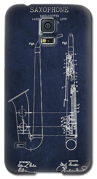 Saxophone Patent Drawing From 1899 - Blue Galaxy S5 Case by Aged Pixel