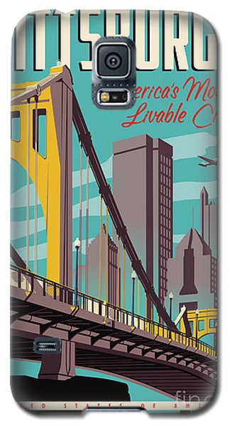 Vintage Style Pittsburgh Travel Poster Galaxy S5 Case by Jim Zahniser