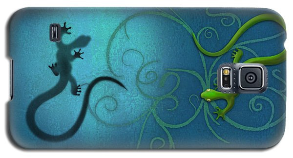 water colour print of twin geckos and swirls Duality Galaxy S5 Case by Sassan Filsoof