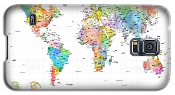 Watercolor Political Map Of The World Galaxy S5 Case by Michael Tompsett