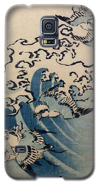 Waves And Birds Galaxy S5 Case by Katsushika Hokusai
