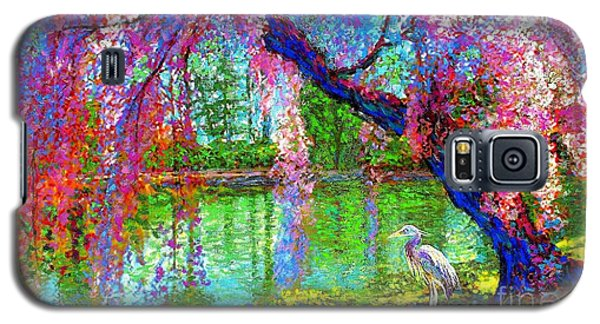 Weeping Beauty, Cherry Blossom Tree And Heron Galaxy S5 Case by Jane Small
