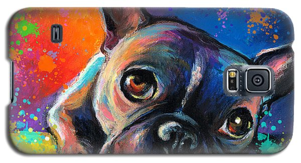 Drawings Galaxy S5 Cases - Whimsical Colorful French Bulldog  Galaxy S5 Case by Svetlana Novikova