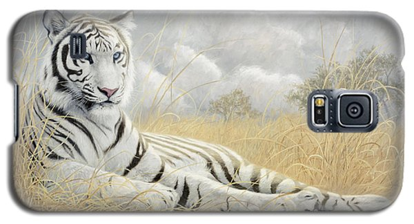 White Tiger Galaxy S5 Case by Lucie Bilodeau