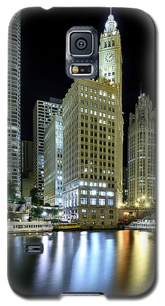 Light Galaxy S5 Cases - Wrigley Building at Night  Galaxy S5 Case by Sebastian Musial