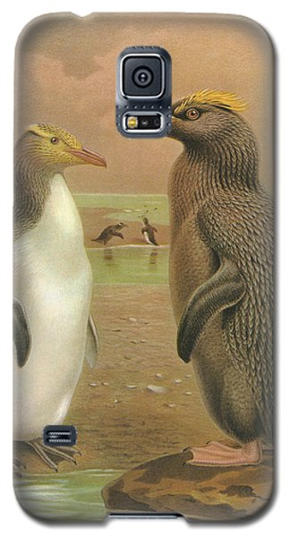 Yellow Eyed Penguin And Snares Crested Penguin  Galaxy S5 Case by J G Keulemans