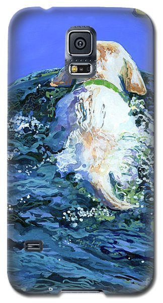 Yellow Galaxy S5 Cases - Yellow Lab  Blue Wake Galaxy S5 Case by Molly Poole
