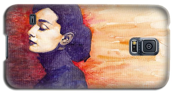 Celebrities Galaxy S5 Cases - Audrey Hepburn 1 Galaxy S5 Case by Yuriy  Shevchuk