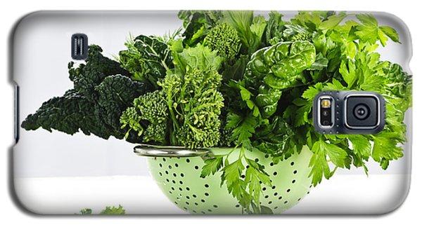 Dark Green Leafy Vegetables In Colander Galaxy S5 Case by Elena Elisseeva