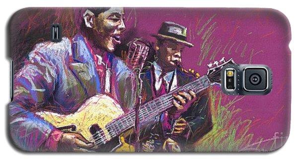 Pastels Galaxy S5 Cases - Jazz Guitarist Duet Galaxy S5 Case by Yuriy  Shevchuk