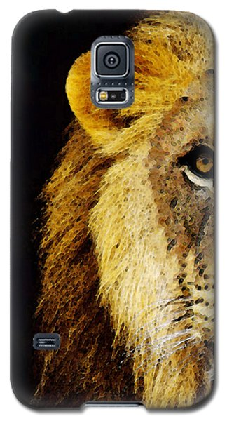 Animals Galaxy S5 Cases - Lion Art - Face Off Galaxy S5 Case by Sharon Cummings