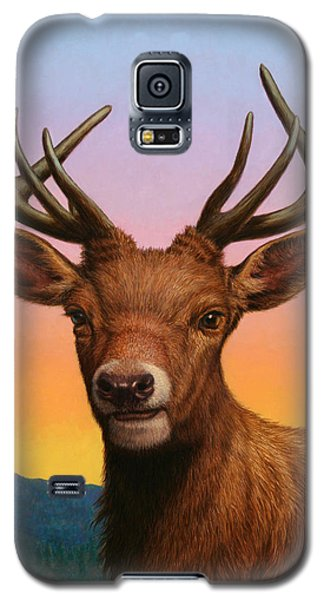 Animals Galaxy S5 Cases - Portrait of a Red Deer Galaxy S5 Case by James W Johnson
