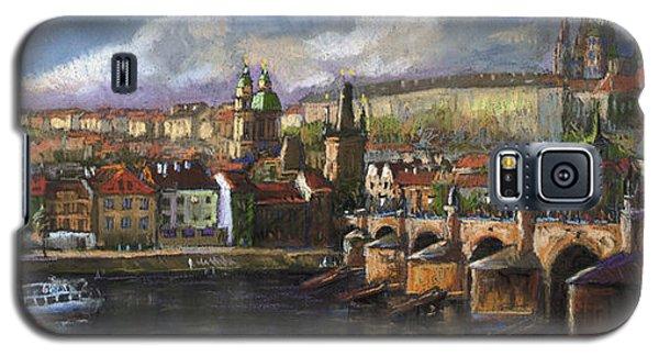 Pastels Galaxy S5 Cases - Prague Panorama Charles Bridge Prague Castle Galaxy S5 Case by Yuriy  Shevchuk