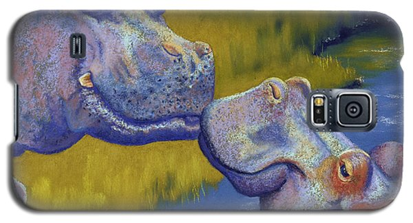 Pastels Galaxy S5 Cases - The Kiss - Hippos Galaxy S5 Case by Tracy L Teeter
