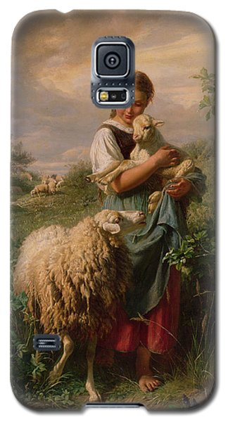 Portraits Galaxy S5 Cases - The Shepherdess Galaxy S5 Case by Johann Baptist Hofner