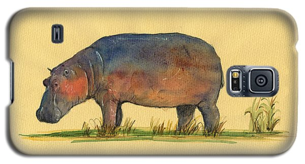 Hippo Watercolor Painting  Galaxy S5 Case by Juan  Bosco