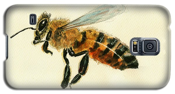 Honey Bee Watercolor Painting Galaxy S5 Case by Juan  Bosco