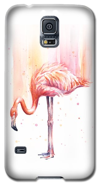 Pink Flamingo Watercolor Rain Galaxy S5 Case by Olga Shvartsur