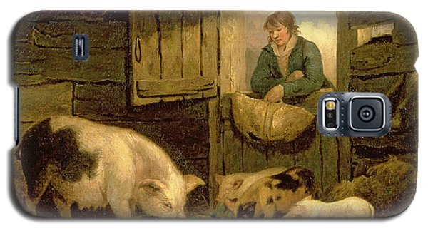 A Boy Looking Into A Pig Sty Galaxy S5 Case by George Morland