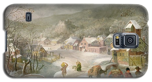 A Winter Landscape With Travellers On A Path Galaxy S5 Case by Denys van Alsloot