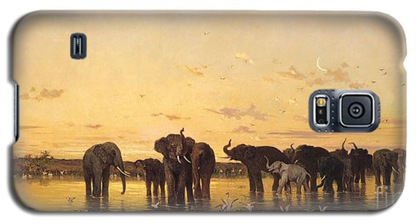 African Elephants Galaxy S5 Case by Charles Emile de Tournemine