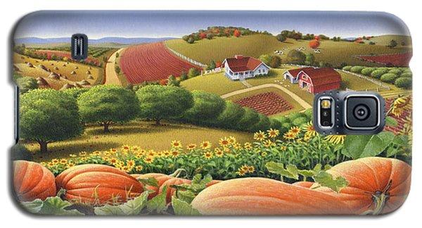Farm Landscape - Autumn Rural Country Pumpkins Folk Art - Appalachian Americana - Fall Pumpkin Patch Galaxy S5 Case by Walt Curlee