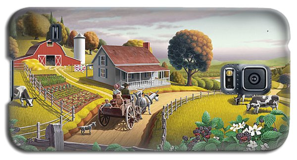 Buy Galaxy S5 Cases -  Appalachian Blackberry Patch Rustic Country Farm Folk Art Landscape - Rural Americana - Peaceful Galaxy S5 Case by Walt Curlee