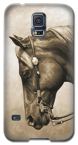 Western Horse Painting In Sepia Galaxy S5 Case by Crista Forest