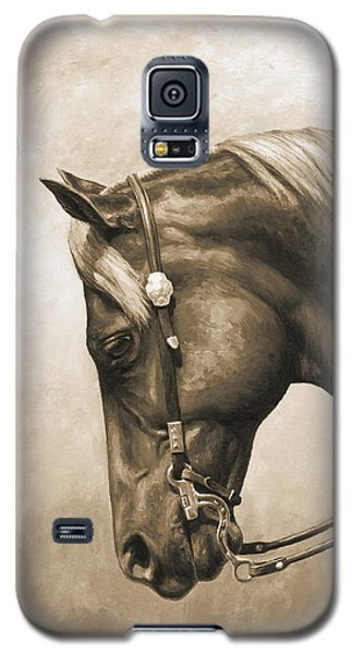Galaxy S5 Cases - Western Horse Painting In Sepia Galaxy S5 Case by Crista Forest