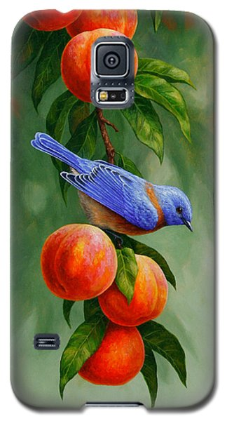 Bluebird And Peaches Greeting Card 1 Galaxy S5 Case by Crista Forest