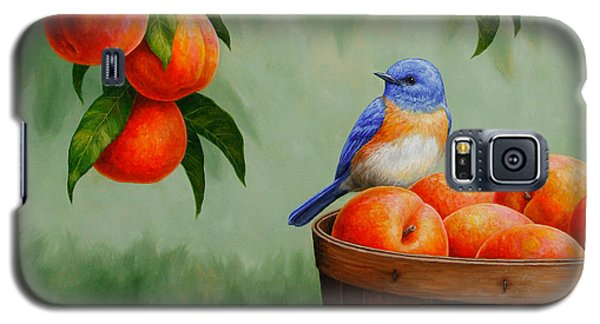 Bluebird And Peaches Greeting Card 3 Galaxy S5 Case by Crista Forest