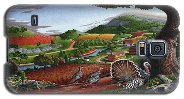 Wild Turkeys Appalachian Thanksgiving Landscape - Childhood Memories - Country Life - Americana Galaxy S5 Case by Walt Curlee