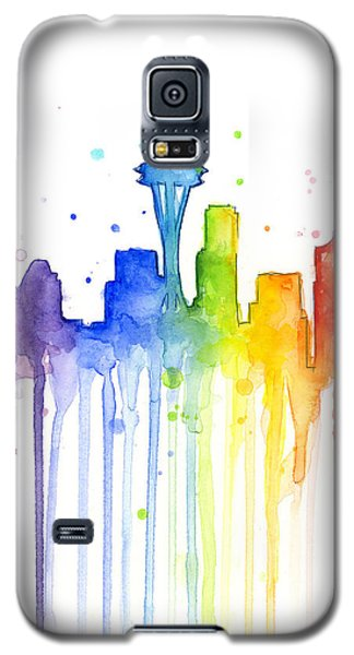 Seattle Rainbow Watercolor Galaxy S5 Case by Olga Shvartsur
