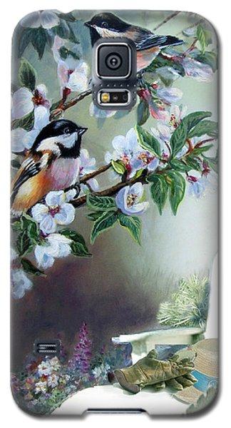 Chickadees In Blossom Tree Galaxy S5 Case by Regina Femrite