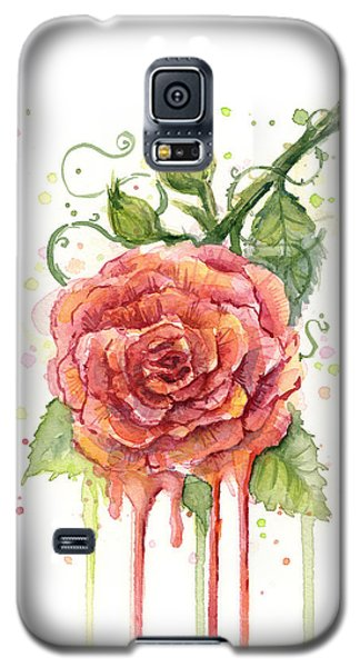 Red Rose Dripping Watercolor  Galaxy S5 Case by Olga Shvartsur