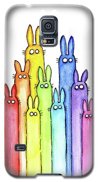 Bunny Rabbits Watercolor Rainbow Galaxy S5 Case by Olga Shvartsur