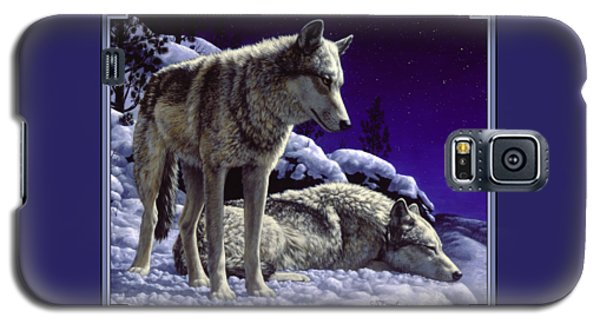 Blue Galaxy S5 Cases - Wolf Painting - Night Watch Galaxy S5 Case by Crista Forest