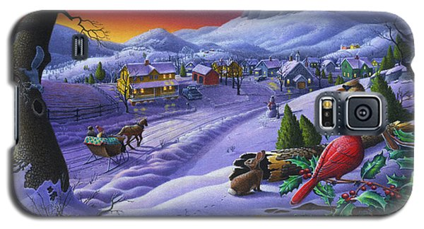 Christmas Sleigh Ride Winter Landscape Oil Painting - Cardinals Country Farm - Small Town Folk Art Galaxy S5 Case by Walt Curlee